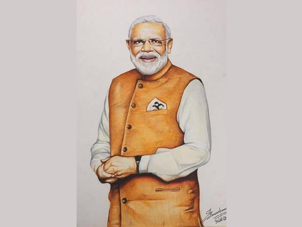 Visual of PM Modi's painting created by artist Steven Harris. (Photo/ANI)