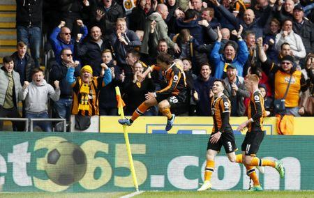 Hull City's Lazar Markovic celebrates scoring their first goal