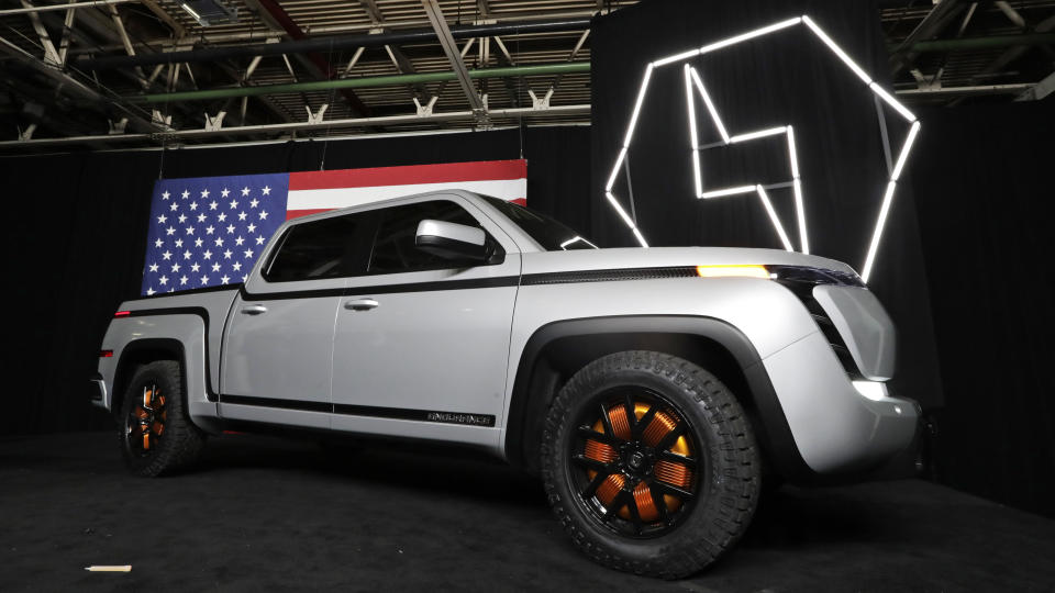 FILE-This Thursday, June 25, 2020 file photo shows the electric Endurance pick-up truck at Lordstown Motors Corporation, in Lordstown, Ohio. Lordstown Motors Corp. said it already has begun metal stamping and welding for the Endurance All-Electric Pickup Truck prototypes, which will be used for testing. Full production of the Endurance pickups is slated to begin in September 2021 at the former General Motors assembly plant near Youngstown, which Lordstown Motors bought in 2019. The company took over the plant after GM ended its more than 50 years of car manufacturing at the plant. (AP Photo/Tony Dejak, File)