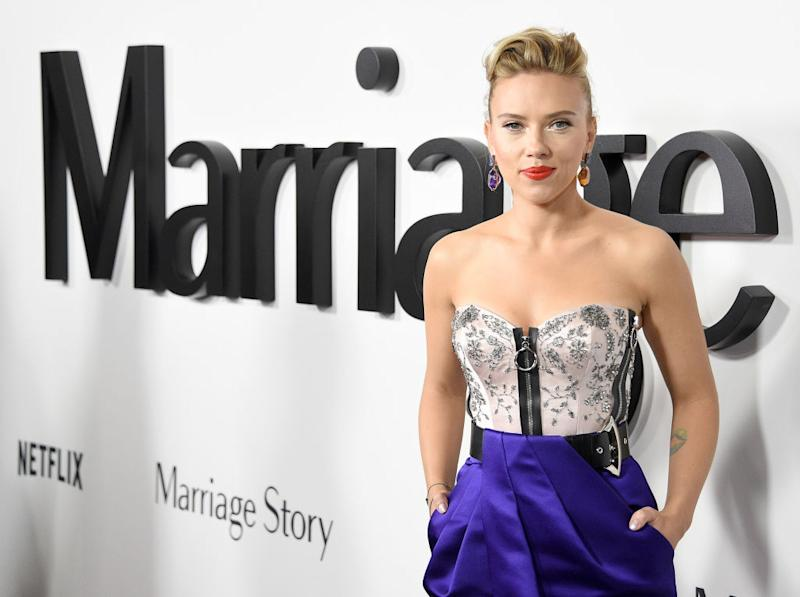 """Scarlett Johansson arrives at the premiere of """"Marriage Story"""" at the DGA Theater on Nov. 5 in L.A. (Photo: Gregg DeGuire/FilmMagic)"""