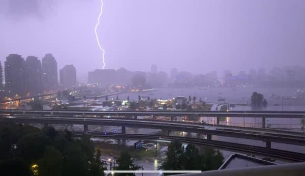 Environment Canada says 232 lightning strikes hit the South Coast in a 12-hour period between Monday and Tuesday. (Justin McElroy/CBC - image credit)