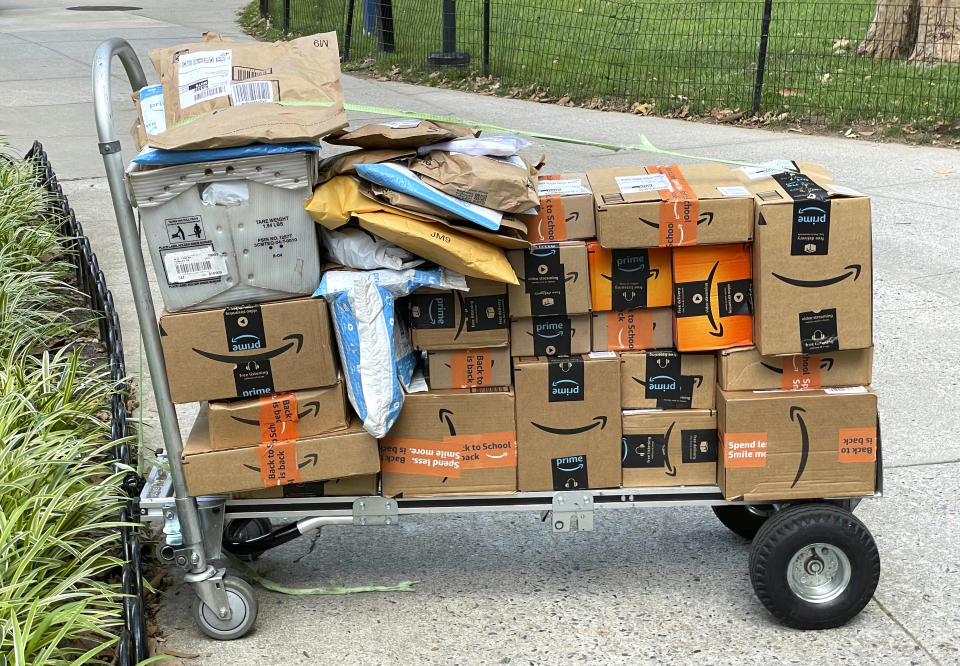Photo by: STRF/STAR MAX/IPx 2021 7/30/21 Amazon packages out for delivery in Manhattan.