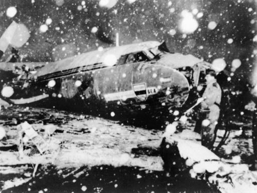 File picture showing debris of the plane carrying Manchester United's 'Busby Babes' following the crash at Munich airport