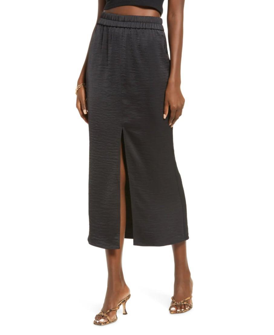 <p>Don't write off this <span>Open Edit Satin Midi Skirt</span> ($49) as just another skirt. From the subtle slit to the luxe satin material, this option will turn heads wherever you go.</p>