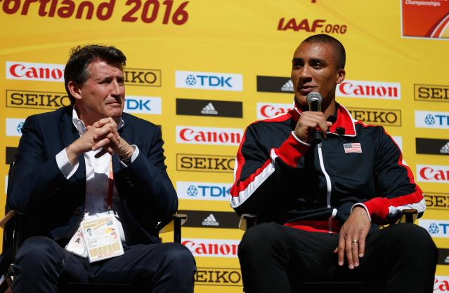 PORTLAND, OR - MARCH 17: (L-R) Ashton Eaton of the United States and IAAF President Lord Sebastian Coe attend the IAAF/LOC Press Conference at Pioneer Courthouse Square on March 17, 2016 in Portland, Oregon. (Photo by Christian Petersen/Getty Images for IAAF)