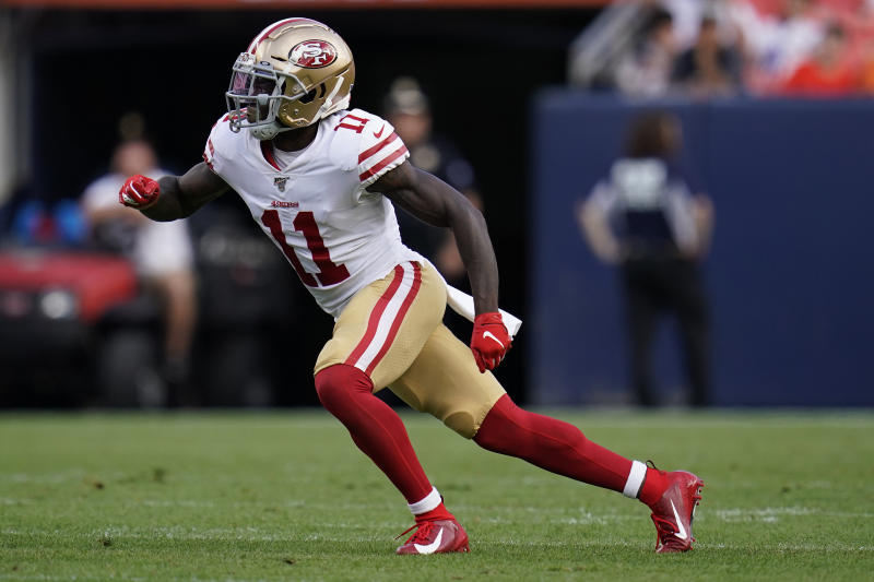 San Francisco 49ers wide receiver Marquise Goodwin (11) was traded to the Eagles. (AP Photo/Jack Dempsey)