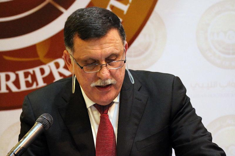 Libya's Prime Minister-designate Fayez al-Sarraj presents the programme of his new national unity government before the parliament on February 20, 2016 in Tobruk (AFP Photo/Abdullah Doma)
