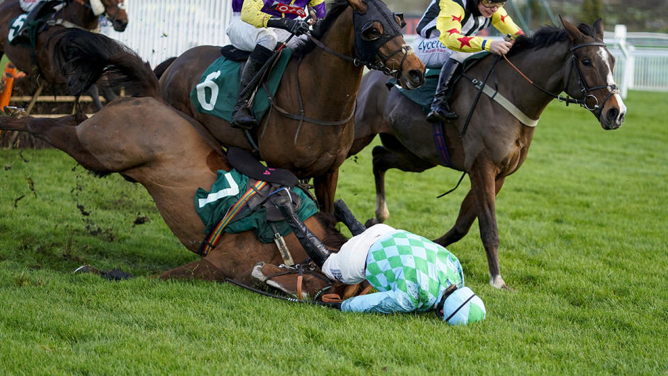 Jockey Gina Andrews was taken to hospital and is awaiting news as to whether she will require facial surgery after a horror fall at Cheltenham. (Photo by Alan Crowhurst/Getty Images)