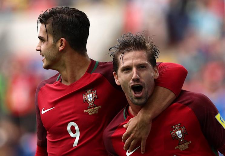 Adrien Silva (right) scored the goal that clinched third place at the Confederations Cup for Portugal. (Getty)