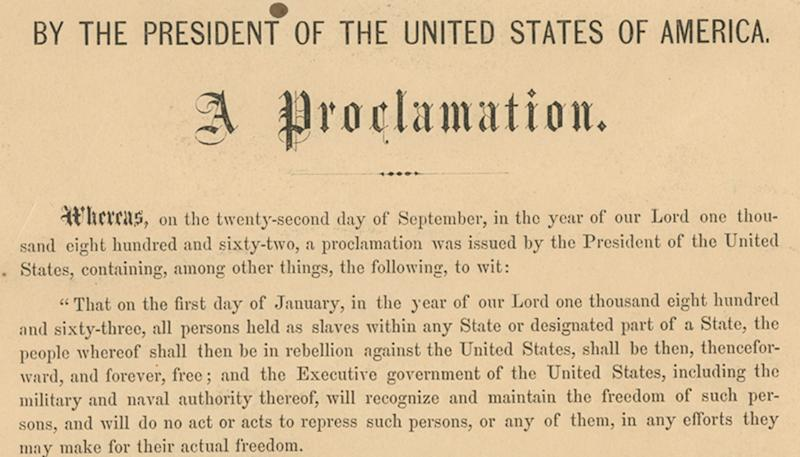 This undated photo provided by Seth Kaller, Inc., shows a detail from the rare original copy of President Abraham Lincoln's Emancipation Proclamation which sold Tuesday, June 26, 2012, at a New York auction for more than $2 million. It's the second-highest price ever paid for a Lincoln-signed proclamation - after one owned by the late Sen. Robert Kennedy that went for $3.8 million two years ago. (AP Photo/Seth Kaller, Inc.)