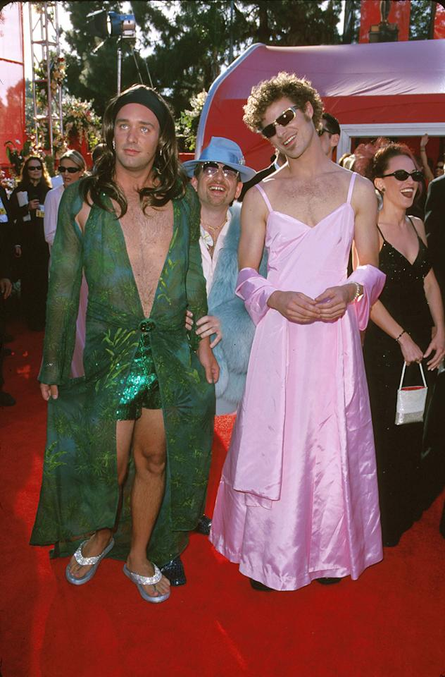 "The ""South Park"" guys show up in drag (2000): Trey Parker and Matt Stone arrived to support the feature film version of their animated series, ""South Park: Bigger, Longer & Uncut,"" which earned Parker and Marc Shaiman an original-song nomination for the jaunty ""Blame Canada."" But they couldn't just wear tuxes like everyone else. Since they've made a career out of skewering celebrities, Stone donned a replica of the pink gown Gwyneth Paltrow wore a year earlier when she won best actress for ""Shakespeare in Love,"" while Parker wore a knock-off of the plunging green Versace number Jennifer Lopez famously filled out at the Grammys. So much chest hair ... and so hilarious."