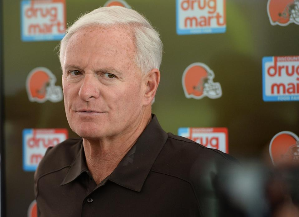 BEREA, OH - JULY 28, 2018: Owner Jimmy Haslam of the Cleveland Browns answers questions from the media prior to a training camp practice on July 28, 2018 at the Cleveland Browns training facility in Berea, Ohio. (Photo by Nick Cammett/Diamond Images/Getty Images)