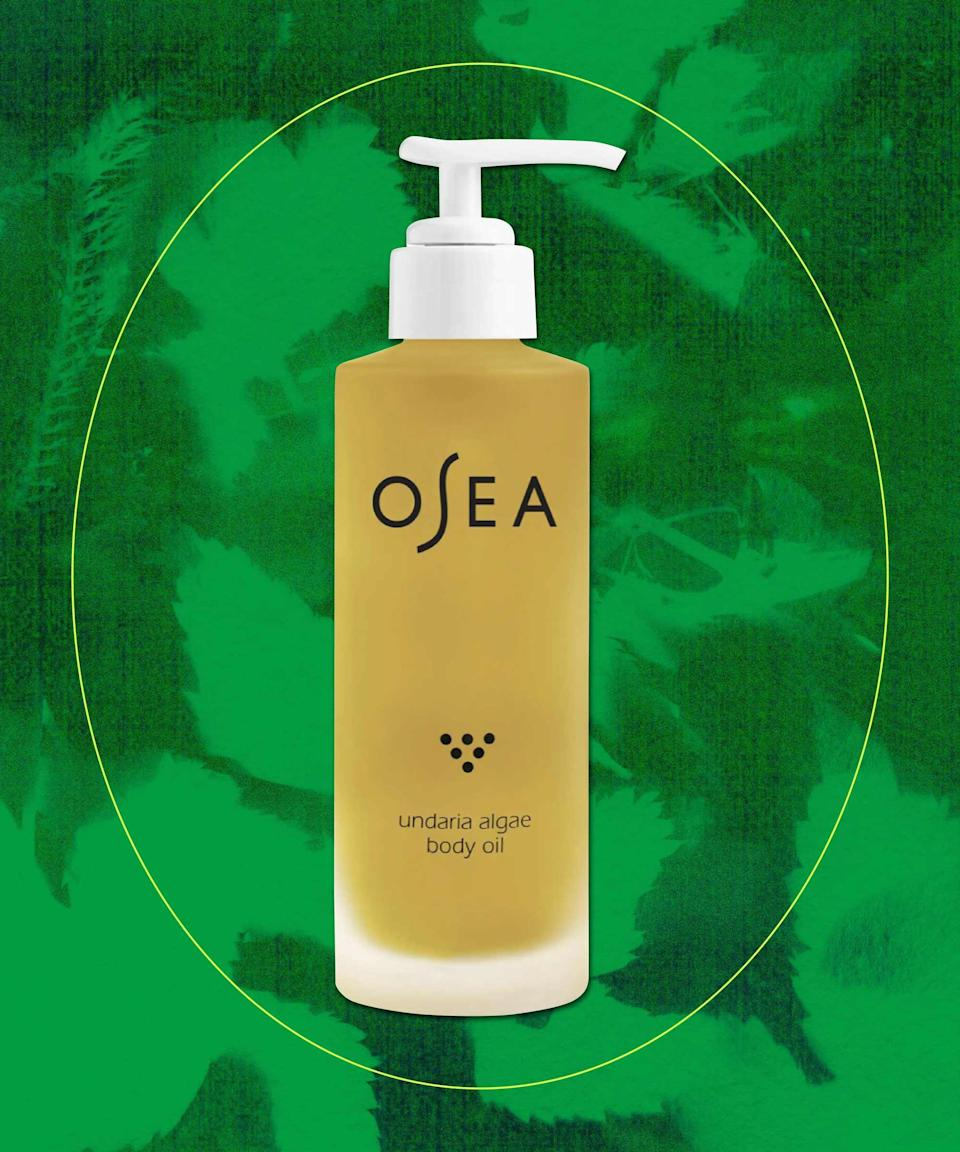 "<strong>Osea Undaria Algae Body Oil</strong><br><br>Organic undaria algae is soaked in a potent and pure vitamin-rich blend of açai, babassu, and passionfruit oils to create a lightweight, skin-smoothing body oil that promotes hydration, firms, and reduces the appearance of stretch marks. <br><br><strong>Sustainability shout-out:</strong> toxic-free product and USDA-certified organic ingredients.<br><br><strong>OSEA</strong> Undaria Algae Body Oil, $, available at <a href=""https://go.skimresources.com/?id=30283X879131&url=https%3A%2F%2Fwww.nordstrom.com%2Fs%2Fosea-undaria-algae-body-oil%2F5812429%3Forigin%3Dkeywordsearch-personalizedsort%26breadcrumb%3DHome%252FAll%2520Results%26color%3D000"" rel=""nofollow noopener"" target=""_blank"" data-ylk=""slk:Nordstrom"" class=""link rapid-noclick-resp"">Nordstrom</a>"