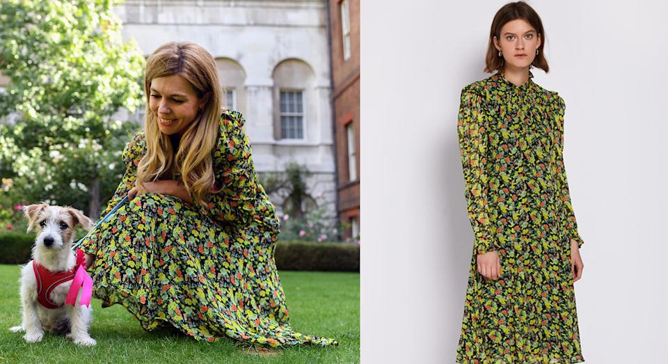 Carrie Symonds just wore another stunning dress by British brand Ghost [Photo: Twitter @carriesymonds/ Ghost]