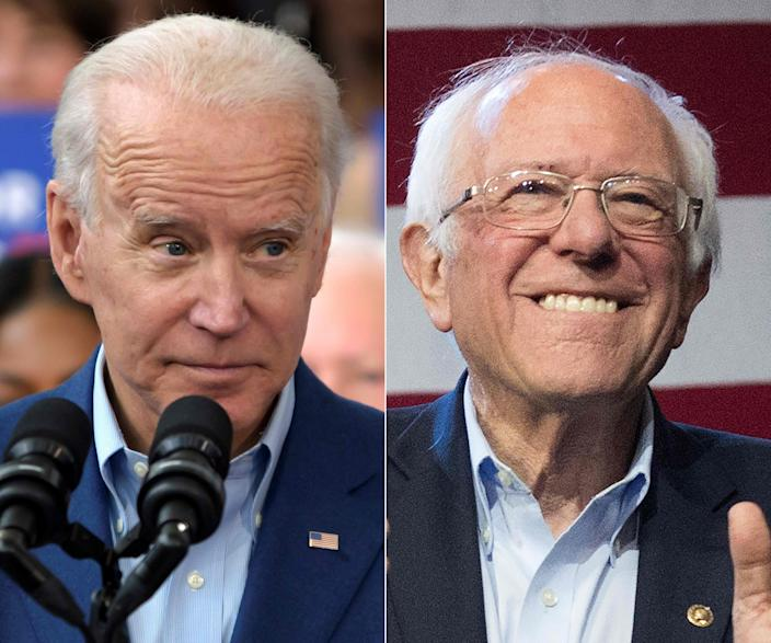 This combination of pictures created on March 4, 2020 shows Democratic presidential candidate Joe Biden(L) speaking to supporters during a rally on March 2, 2020 at Texas Southern University in Houston, Texas, and Democratic White House hopeful Vermont Senator Bernie Sanders speaking during a campaign rally at the Convention Center in Los Angeles, California on March 1, 2020.