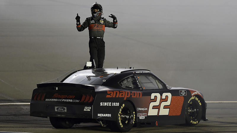 Austin Cindric, pictured here celebrating after winning the NASCAR Xfinity Series Alsco 300 at Kentucky Speedway.