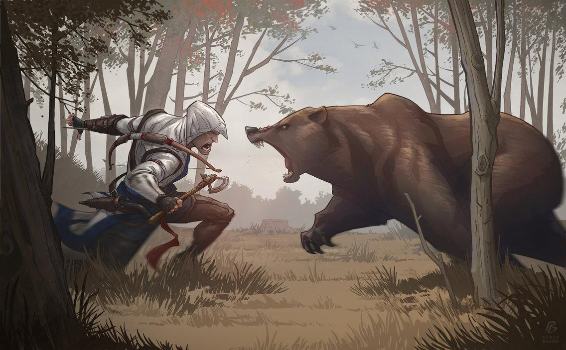 "Assassin's Creed 3 Bear Attack by <a target=""_blank"" href=""https://www.facebook.com/PatrickBrownArt"">PatrickBrown</a>"