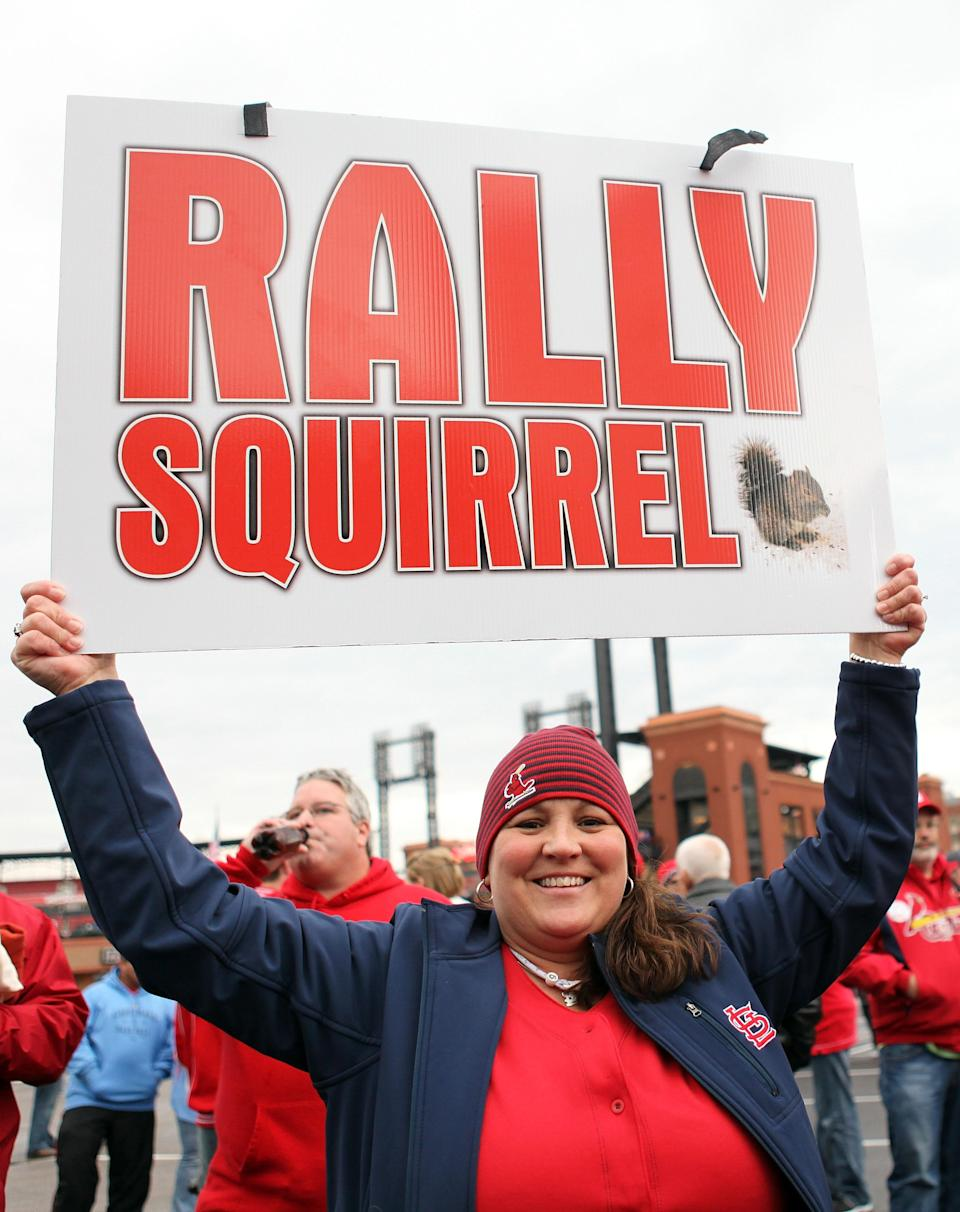 ST LOUIS, MO - OCTOBER 19: A fan of the St. Louis Cardinals holds up a sign prior to Game One of the MLB World Series between the Texas Rangers and the St. Louis Cardinals at Busch Stadium on October 19, 2011 in St Louis, Missouri. (Photo by Jamie Squire/Getty Images)