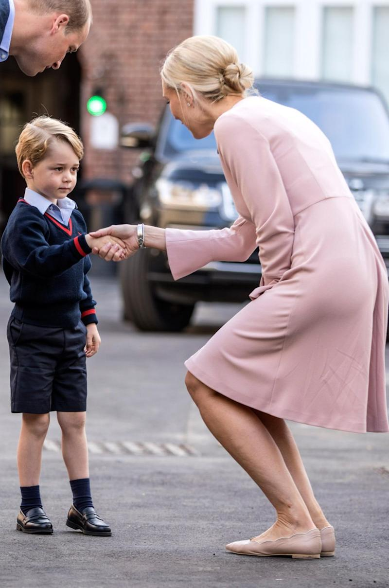 Ms Haslem shook hands with Prince George to welcome him to the school on his first day. Source: Getty