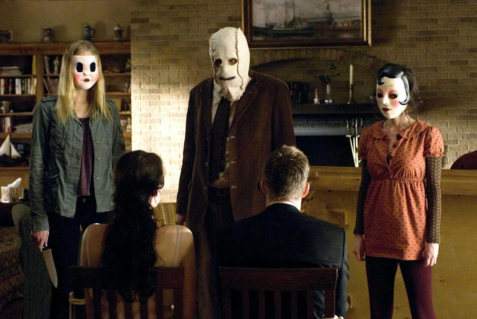 """<p>If you've ever seen <em>The Strangers</em>, you'll know just how scary these masked terrorizers are. And even if you haven't, they're still pretty darn creepy from first glance. To keep things cheap, you can use any clothing you already own that looks similar to the characters' outfits and simply add a mask. </p><p><a class=""""link rapid-noclick-resp"""" href=""""https://www.amazon.com/Trick-Treat-Studios-Strangers-Vaccuform/dp/B07HKQW5P6?tag=syn-yahoo-20&ascsubtag=%5Bartid%7C10070.g.28669645%5Bsrc%7Cyahoo-us"""" rel=""""nofollow noopener"""" target=""""_blank"""" data-ylk=""""slk:Shop Women's Costume"""">Shop Women's Costume</a></p><p><a class=""""link rapid-noclick-resp"""" href=""""https://www.amazon.com/stpan-Strangers-Prey-Night-Mask/dp/B07BH4PBF8?tag=syn-yahoo-20&ascsubtag=%5Bartid%7C10070.g.28669645%5Bsrc%7Cyahoo-us"""" rel=""""nofollow noopener"""" target=""""_blank"""" data-ylk=""""slk:Shop Men's Costume"""">Shop Men's Costume</a> </p>"""