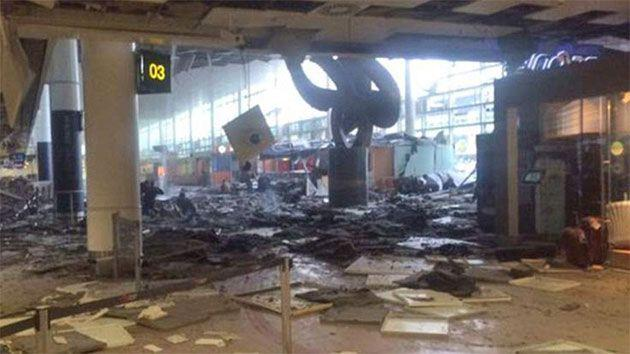 The airport departures terminal was left shattered following the bomb blasts. Photo: Twitter