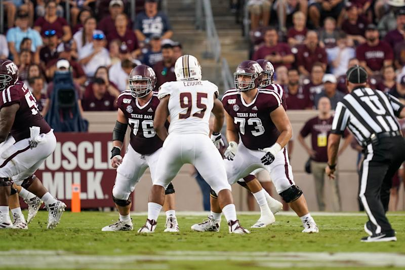 COLLEGE STATION, TX - AUGUST 29: Texas A&M Aggies offensive lineman Colton Prater (76) and offensive lineman Jared Hocker (73) look to block during the game between the Texas State Bobcats and Texas A&M Aggies on August 29, 2019 at Kyle Field in College Station, Texas. (Photo by Daniel Dunn/Icon Sportswire via Getty Images)
