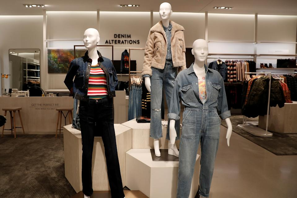 Clothes are seen on display at the Denims alteration section of the Nordstrom flagship store during a media preview in New York, U.S., October 21, 2019. REUTERS/Shannon Stapleton