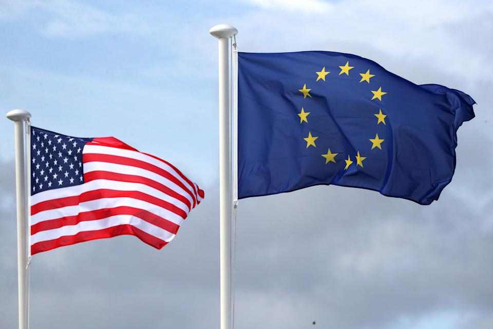 The USA flag and the European Union flag