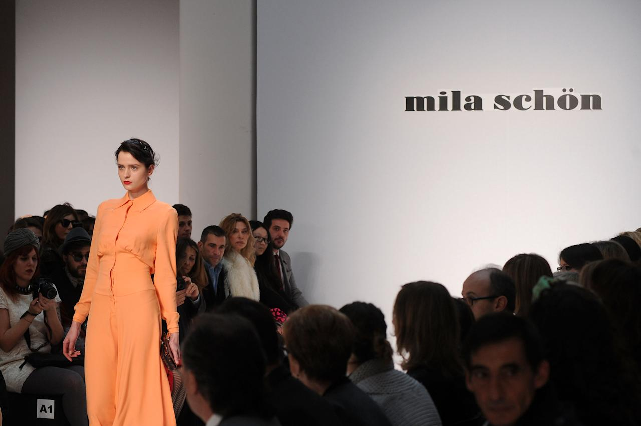 MILAN, ITALY - FEBRUARY 25:  A model walks the runway at the Mila Schon Autumn/Winter 2012/2013 fashion show as part of Milan Womenswear Fashion Week on February 25, 2012 in Milan, Italy.  (Photo by Pier Marco Tacca/Getty Images)