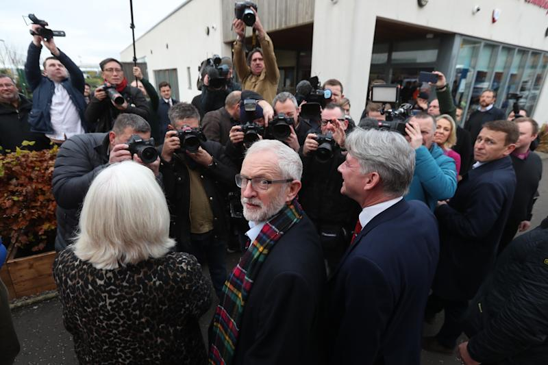 Labour Party leader Jeremy Corbyn during a visit to the Heart of Scotstoun Community Centre in Glasgow, during General Election campaigning.