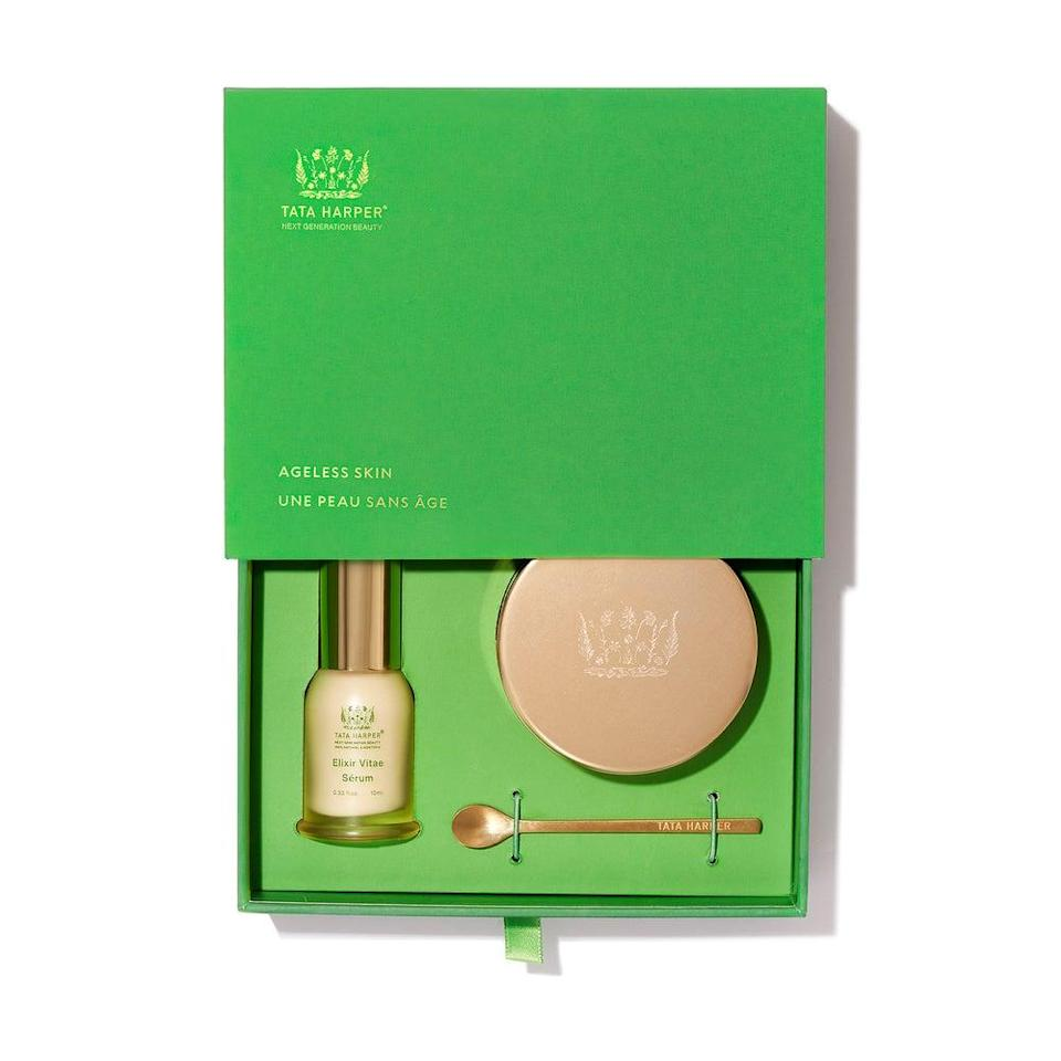 """<h3>Tata Harper Ageless Skin Set</h3><br>Yes, this Tata Harper gift box is definitely a splurge, but the peptide-packed elixir and rich face cream duo will give your best friend the brightest, plumpest skin of her life, which kind of gives you lifetime clout.<br><br><strong>Tata Harper</strong> Tata Harper Ageless Skin Set, $, available at <a href=""""https://go.skimresources.com/?id=30283X879131&url=https%3A%2F%2Fwww.tataharperskincare.com%2Fageless-skin"""" rel=""""nofollow noopener"""" target=""""_blank"""" data-ylk=""""slk:Tata Harper"""" class=""""link rapid-noclick-resp"""">Tata Harper</a>"""