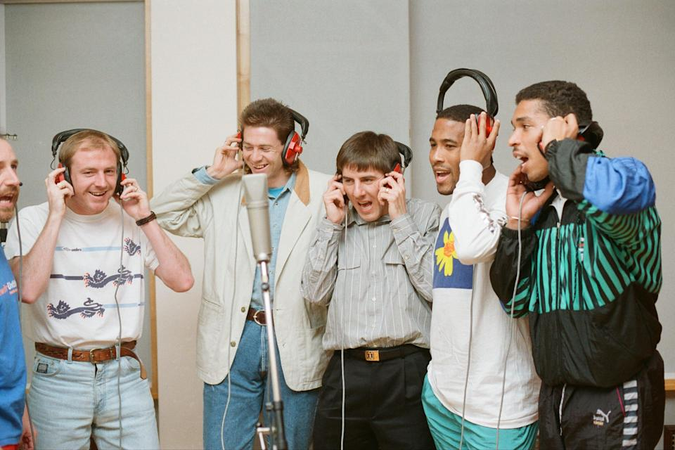 Express yourself: Members of England's 1990 World Cup squad record vocals for New Order's World In Motion (Getty Images)