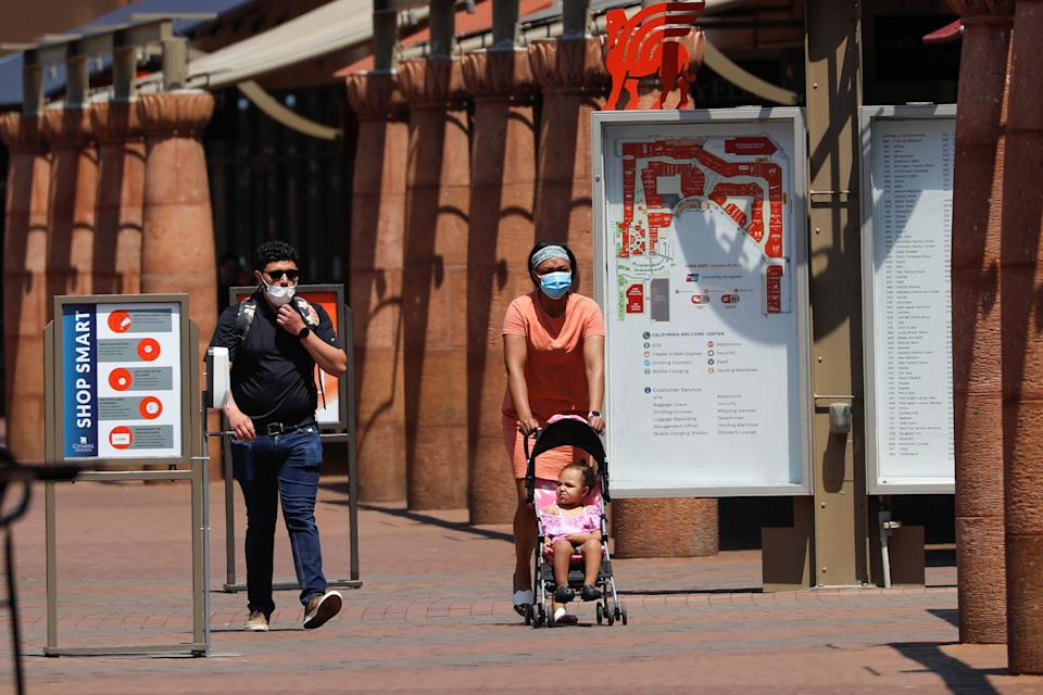 A Citadel Outlet shopping mall reopens during the outbreak of coronavirus disease (COVID-19) in Commerce, California, U.S., May 28, 2020.      REUTERS/Mike Blake