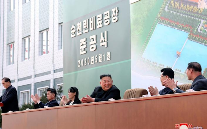 Kim made his first public appearance in 20 days as he celebrated the completion of the fertilizer factory, state media said on Saturday - KCNA via KNS