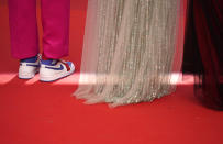 Jury president Spike Lee, left, poses with Jury members Melanie Laurent and Mylene Farmer at the premiere of the film 'Annette' and the opening ceremony of the 74th international film festival, Cannes, southern France, Tuesday, July 6, 2021. (AP Photo/Brynn Anderson)