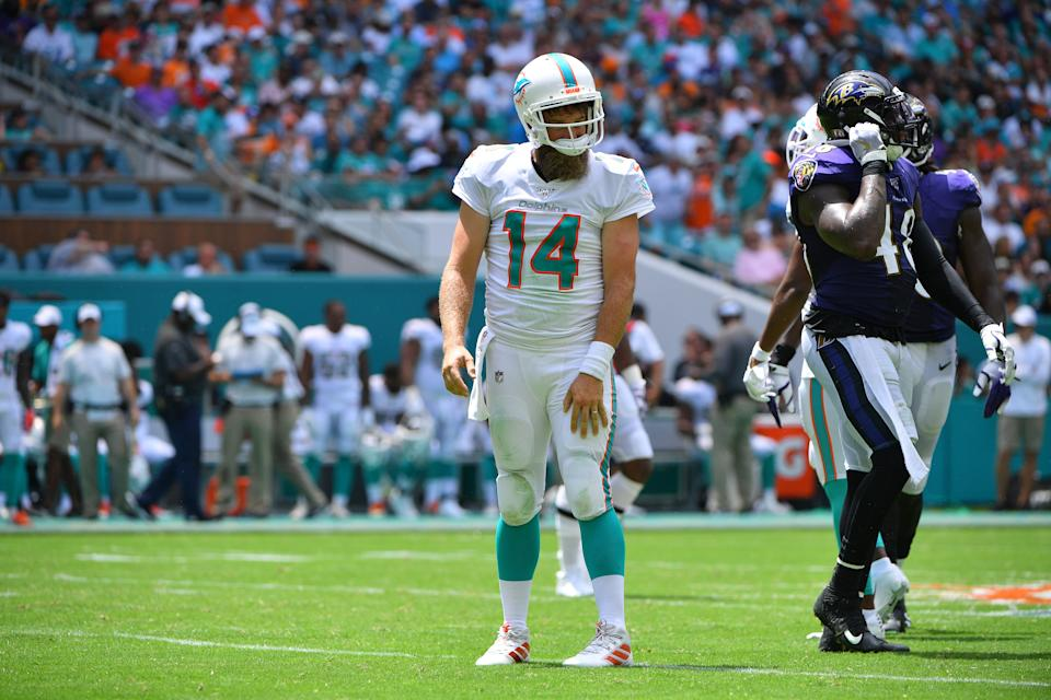 It was not a good start to the season for Ryan Fitzpatrick and the Miami Dolphins in Week 1. (Getty Images)