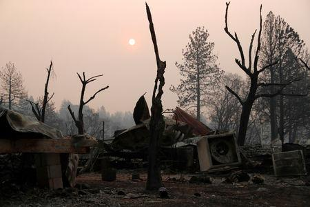 A house destroyed by the Camp Fire is seen in Paradise, California, U.S., November 17, 2018.  REUTERS/Terray Sylvester/Files