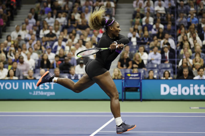 Serena Williams, of the United States, returns a shot to Elina Svitolina, of Ukraine, during the semifinals of the U.S. Open tennis championships Thursday, Sept. 5, 2019, in New York. (AP Photo/Adam Hunger)
