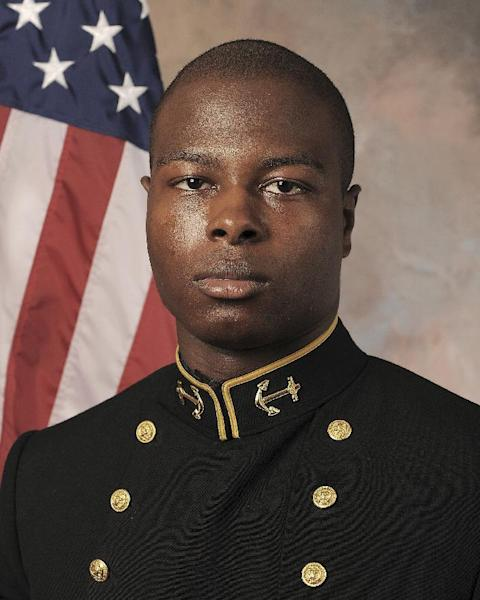 FILE - In this July, 24, 2013, file photo released by the U.S. Navy Football team shows Midshipmen Eric Graham. Vice Adm. Michael Miller, the academy superintendent, decided last month to court-martial Midshipmen Josh Tate and Eric Graham in the case involving an intoxicated classmate at an off-campus party. The alleged victim has testified she was drinking heavily at an off-campus party and has no memory of the alleged incidents. (AP Photo/U.S. Navy Football, File)
