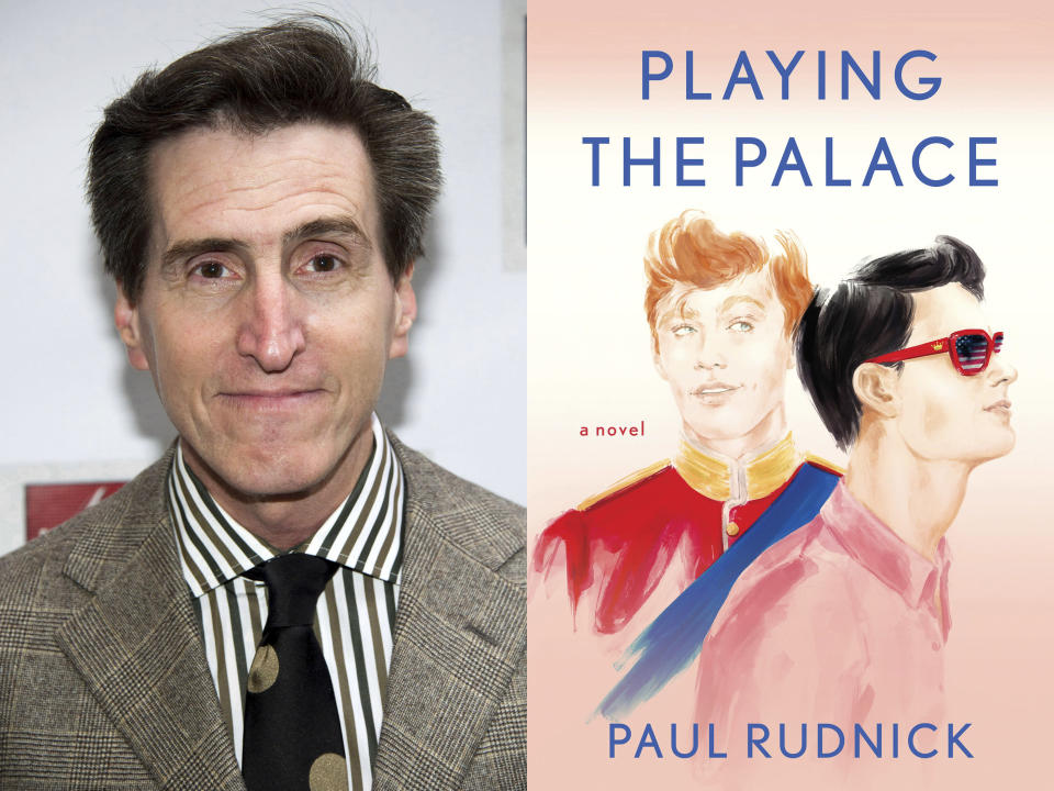 """This combination of photos shows writer Paul Rudnick at the opening night performance of the Broadway revival of Arthur Miller's """"Death of a Salesman"""" in New York on March 15, 2012, left, and the cover image for his new book """"Playing the Palace."""" (AP Photo/Charles Sykes, left, and Berkley via AP)"""