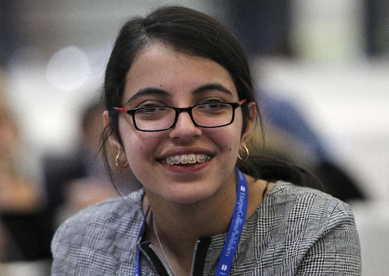 Nujeen Mustafa, pictured at the Frankfurt Book Fair in October 2016, asked the United Nations Security Council to do more to address the humanitarian needs of disabled people affected by the conflict in her homeland, Syria (AFP Photo/DANIEL ROLAND)