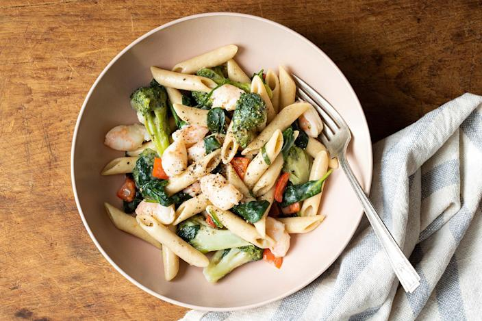 <p>Just as its name suggests, you only need one pot to make this satisfying pasta dish featuring fresh spinach, red bell pepper and broccoli, along with a generous portion of shrimp. To make the light, creamy sauce, residual pasta water is cleverly combined with Parmesan cheese.</p>