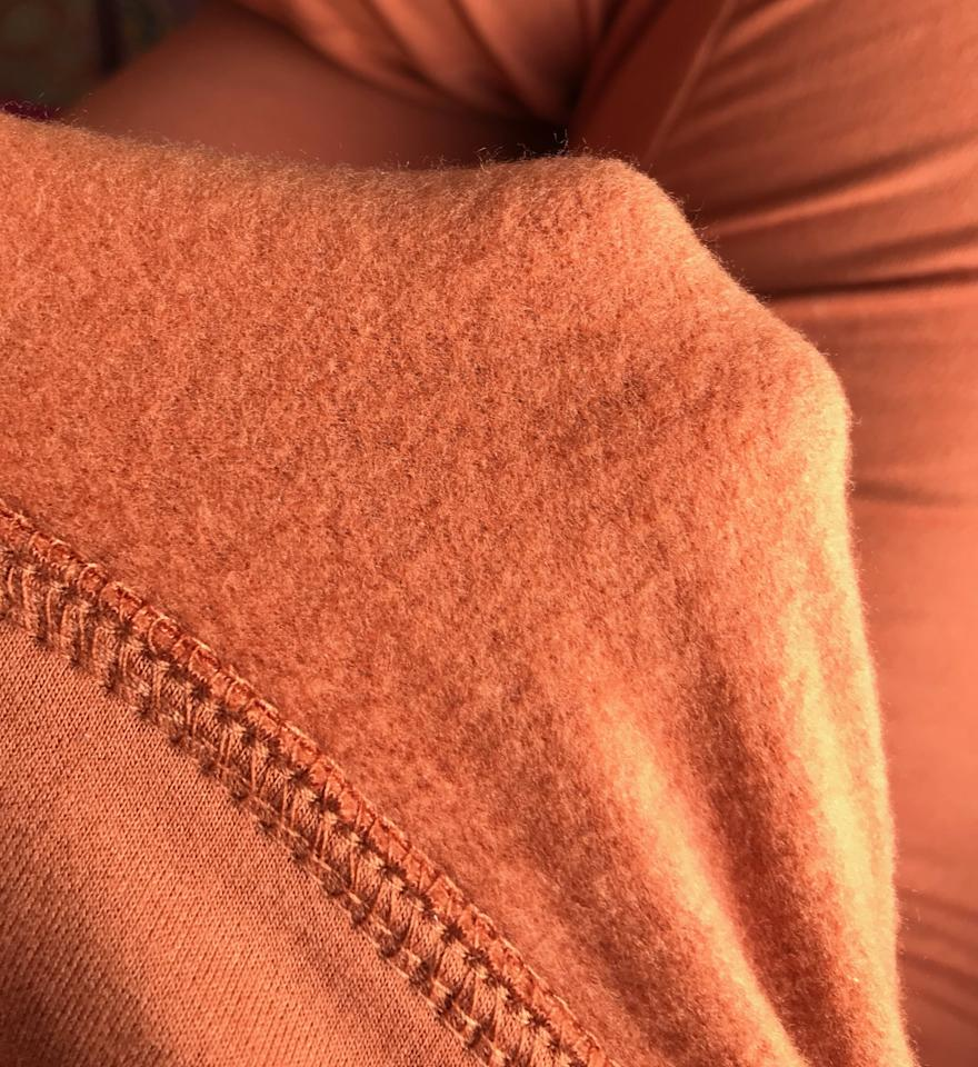<p>This is what the inside of my sweatshirt looks like, and I wish you could touch it through the screen! This fabric maintains its softness, even after many wears.</p>