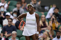 Sloane Stephens of the US celebrates winning the women's singles match against Czech Republic's Petra Kvitova on day one of the Wimbledon Tennis Championships in London, Monday June 28, 2021. (AP Photo/Kirsty Wigglesworth)