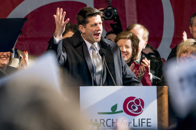 <p>House Speaker Paul Ryan of Wis., speaks at an anti-abortion rally on the National Mall in Washington, Friday, Jan. 19, 2018, during the annual March for Life. (Photo: Andrew Harnik/AP) </p>