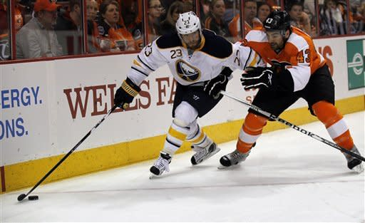 Buffalo Sabres center Ville Leino (23), from Finland, skates with the puck as he guarded by Philadelphia Flyers defenseman Marc-Andre Bourdon (43) in the first period of an NHL hockey game on Thursday, April 5, 2012, in Philadelphia. (AP Photo/Alex Brandon)