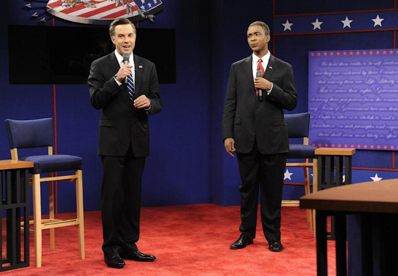 "This Oct. 20, 2012 photo released by NBC shows Jason Sudeikis portraying Republican presidential candidate Mitt Romney, left, and Jay Pharoah as President Barack Obama in a skit from ""Saturday Night Live,"" in New York. After eight years on the air at ""Saturday Night Live,"" Sudeikis says he's calling it quits. Sudeikis used another late-night institution to make his announcement, telling David Letterman in the taping of the show on Wednesday, July 24, that he's leaving NBC's weekend program. Sudeikis had a busy election year on ""Saturday Night Live,"" portraying both Republican Mitt Romney and Vice President Joe Biden. (AP Photo/NBC, Dana Edelson)"
