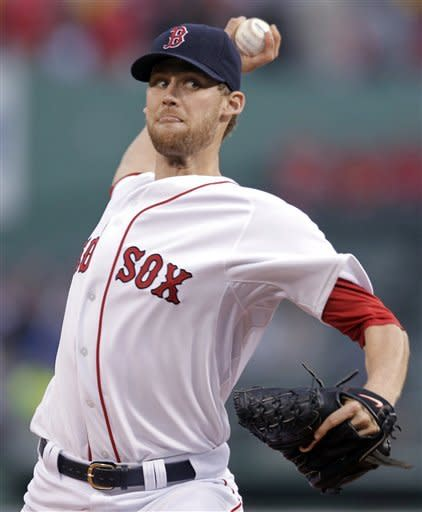 Boston Red Sox starting pitcher Daniel Bard delivers to the Detroit Tigers during the first inning of a baseball game at Fenway Park in Boston on Tuesday, May 29, 2012. (AP Photo/Elise Amendola)