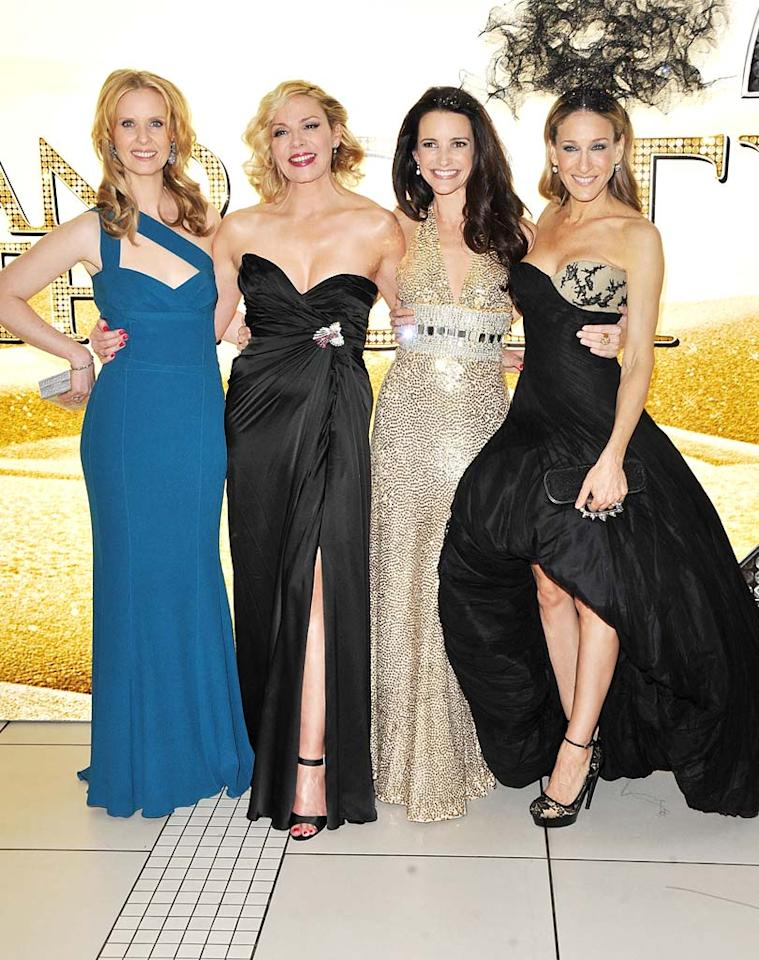 """Sarah Jessica Parker teamed up with her """"Sex And The City 2"""" cast mates Cynthia Nixon, Kim Cattrall, and Kristin Davis at the film's UK premiere in London. Despite dismal reviews, the film is sure to produce big numbers over the Memorial Day long weekend. Jon Furniss/<a href=""""http://www.wireimage.com"""" target=""""new"""">WireImage.com</a> - May 27, 2010"""