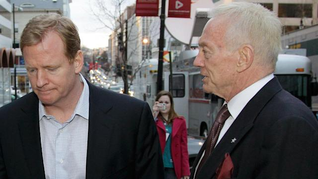 NFL Commissioner Roger Goodell (L) and Dallas Cowboys owner Jerry Jones (Getty)